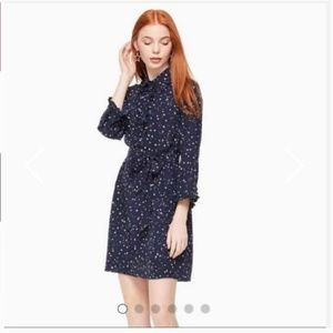 kate spade night sky silk shirtdress dress xs nwt